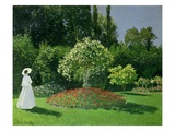 Young Woman in a Garden Giclee Print by Claude Monet
