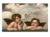 Postcard of Cherubim After a Detail of Sistine Madonna Impression giclée par  Raphael