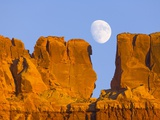 Sandstone Buttes and Moon Photographic Print by John Eastcott & Yva Momatiuk