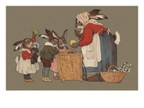 Postcard of Mother Rabbit with Easter Eggs Giclee Print