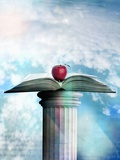 Apple and Open Book on Pedestal Photographic Print