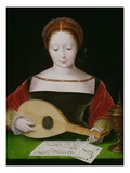 Mary Magdalene Playing a Lute Lámina giclée por  Master of the Female Half Lengths