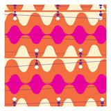 Retro Wave Pattern Orange Giclee Print