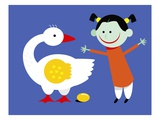 Goose Laying a Golden Egg for Happy Girl Giclee Print