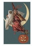 Halloween Postcard with Witch and Owl Sitting in Crescent Moon Gicléedruk van Alexandra Day