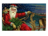 Christmas Greetings with Santa Claus Holding Reins Reproduction procédé giclée