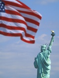 Statue of Liberty and American Flag Photographic Print by Scott Barrow
