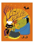 Black cat and old witch brewing a devious concoction Giclee Print by John Coulter