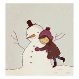 Girl Hugging Snowman Giclee Print