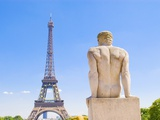 Eiffel Tower and Statue Outside Trocadero Photographic Print by John Harper