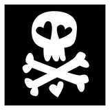 Love Skull and Crossbones Giclee Print