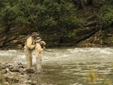 Father and Son Fly Fishing in Moose Creek Photographic Print by Ralph Clevenger