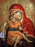 Virgin and Child Icon at Aghiou Pavlou Monastery on Mount Athos Fotografisk tryk af Julian Kumar