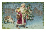 Postcard with Santa Claus Holding a Christmas Tree Giclee Print