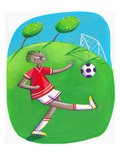 African Boy Playing Soccer Reproduction procédé giclée