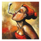 Woman Smoking Giclee Print by Alberto Ruggieri