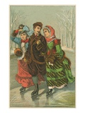 Victorian Print of Three People Ice Skating Giclee Print