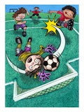 Children Playing Soccer Giclee Print