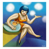Woman Having a Cocktail Giclee Print by Alberto Ruggieri