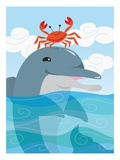 Crab Dancing on Dolphin'S Head Giclee Print