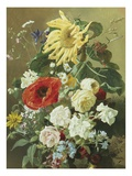 A Rich Still Life with Sunflower and Roses Giclee Print by C.f. Hurten