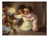 Christmas Postcard with Children Looking at Toys by Monique Martin Giclee Print by Alexandra Day