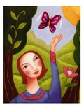 closeup of a woman releasing a butterfly Giclee Print