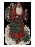 Die-Cut Scrap with Old-Fashioned Santa Claus Giclee Print
