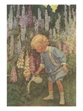 Illustration of a Child Watering Plants by Jessie Willcox Smith Giclee Print