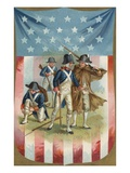 Fourth of July Postcard with Continental Soldiers Giclee Print by Alexandra Day