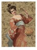 Postcard of Geisha Holding Lantern Giclee Print by Alexandra Day
