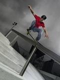 Skateboarder Performing Tricks Fotografisk trykk