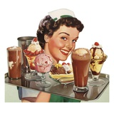 Menu Illustration of Waitress Carrying Ice Cream Desserts Lámina giclée