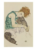 Seated Woman with Bent Knee Lámina giclée por Egon Schiele