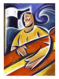 Man Carrying Surfboard Giclee Print by Peter Holt