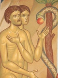 Adam and Eve Fresco at Monastery of Saint-Antoine-le-Grand Photographic Print by Pascal Deloche