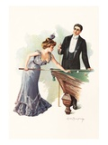 Illustration of a Couple Playing Billiards by Mabel Humphrey Giclee Print