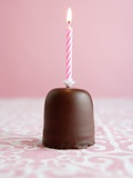 Small Chocolate Birthday Cake Photographic Print by  Zoe