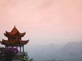 Temple Pavilion with Karst Hills in Mist Photographic Print by Keren Su