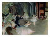 Rehearsal of the Ballet on the Stage Giclee Print by Edgar Degas