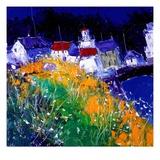 John Lowrie-Morrison - Village Houses by the Sea Digitálně vytištěná reprodukce