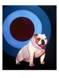 Bulldog in the middle of a bulls eye ring Giclee Print by Michael Forbes