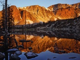 Snowy Range Reflected in Mirror Lake Photographic Print by Steve Terrill