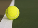 Tennis ball on white boundary stripe Photographic Print by Monalyn Gracia