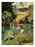 Paysage et volailles Reproduction procédé giclée par Paul Gauguin