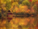 Wooden Cabin on Lake in Autumn Photographie par Robert Llewellyn