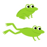Two Frogs Leaping Giclee Print by John Coulter