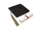 Mortarboard and Diploma Photographic Print by Lew Robertson