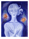 Woman holding her chest Giclee Print by Vicky Emptage