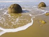 Large Moeraki Boulders on Koekoche Beach Photographic Print by John Eastcott & Yva Momatiuk